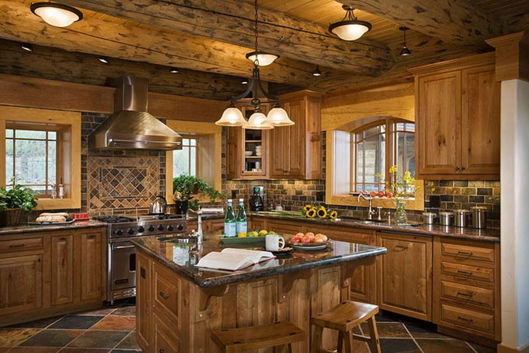 Beautiful Log Home Decor Kitchen Dream