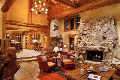 Beige Wall Character Logs Hybrid Log House Cabin Home