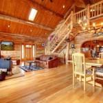 Best Idea Large Luxury Log House Living Room Staircase