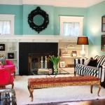 Blue Black White Accents Eclectic Living Room
