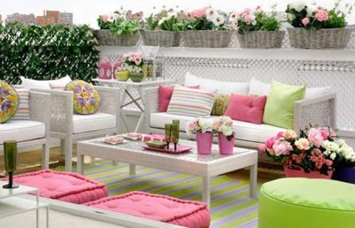 Bright Pink Green Colors Outdoor Home Decorating Romantic