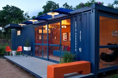 Container Guest House Floor Ceiling Glass Doors Windows