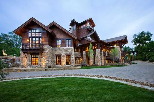 Contemporary Log Home Well Lit Courtesy Roger Wade Studios