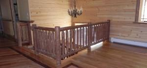 Custom Made Log Railings Detailed Wood Flooring Rustic