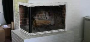 Example Typical Shaped Masonry Fireplace Glass Doors