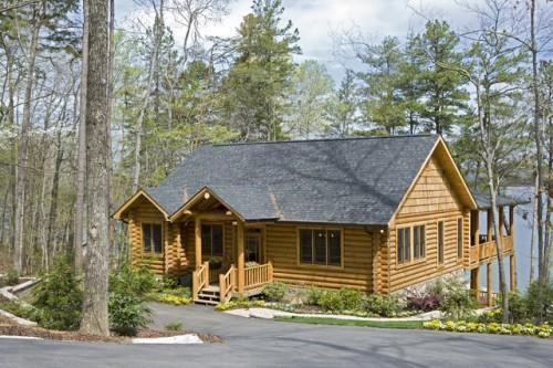 Exterior Rustic Round Log Timber Home Traditional