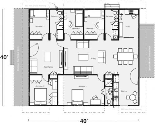 Five Bedroom Three Bath Shipping Container Home Floor Plan