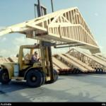 Forklift Moving Prefabricated Roof Trusses Aci Kimtruss Los