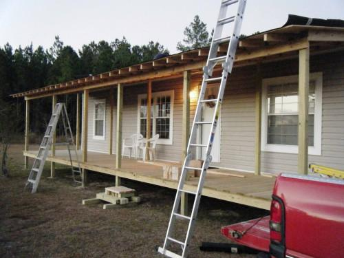 Front Porch Being Built Onto Double Wide Belindajowrites