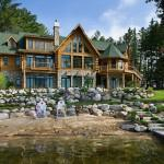 Grand Scale Lodge Style Log Retreat Michigan