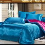 Green Blue Hot Pink Silk Satin Bedding Comforter Set King Queen