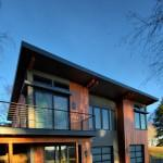 Green Prefab Home Portland Oregon Exterior East Elevation