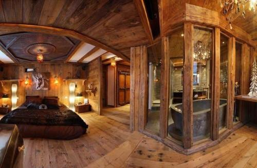 House Rustic Chic Master Bedrooms Logs Home Interiors Chalets