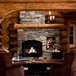 Interior Log Home Fireplace Listed European