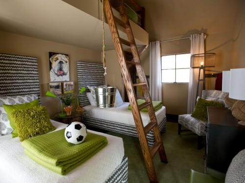 Kids Room Wide Beds Ladder Epp Rend Hgtvcom