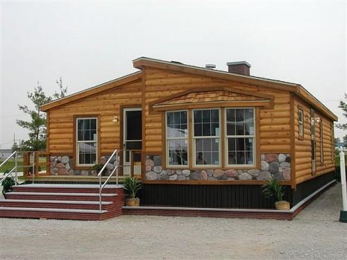Log Cabin Double Wide Mobile Manufactured Home Living