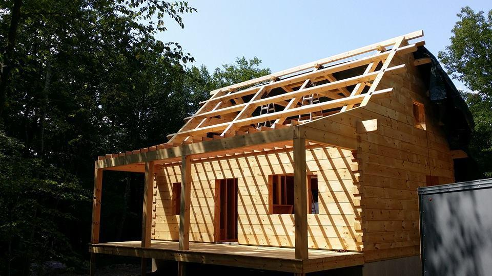 Log Cabin Exposed Roof Home Under Construction Custom Built