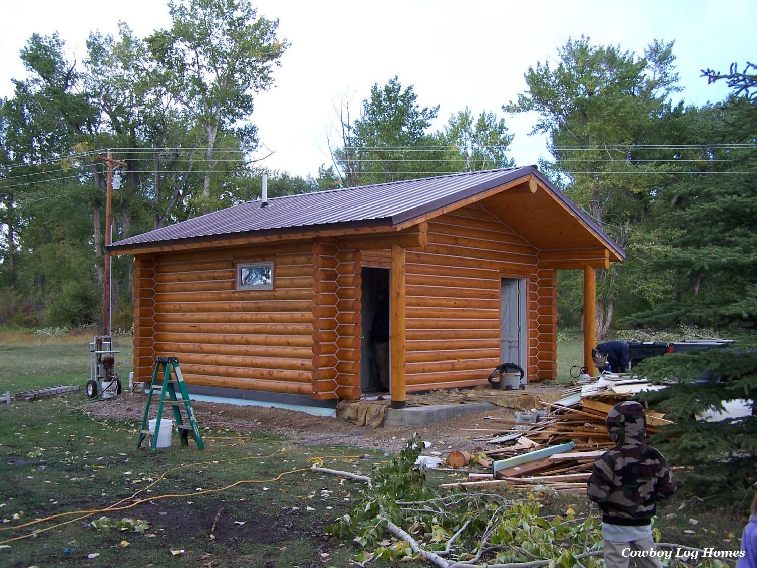 Log Home Bath House Stained Cowboy Homes