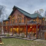 Log Home Golden Eagle Homes Exterior Lakeside Stairs