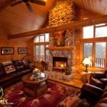 Log Home Golden Eagle Homes Great Room Stone Fireplace