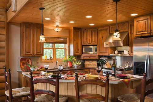Log Home Kitchen Dining Rooms