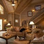 Log Home Lavely Traditional Living Room
