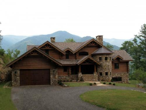 Luxury Log Home Estate Tusquittee Mountains Western North