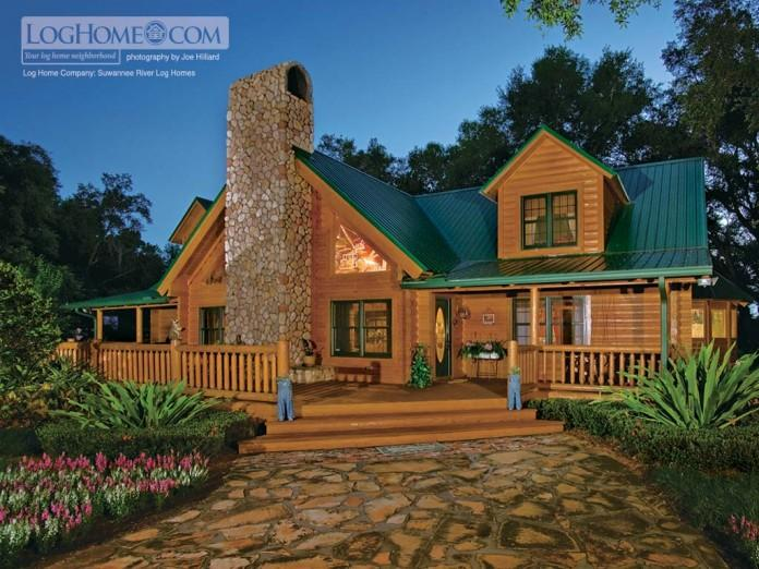 Luxury Small Prefab Log Home Design Brown Wall Dark