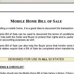 Bill Of Sale Mobile Home