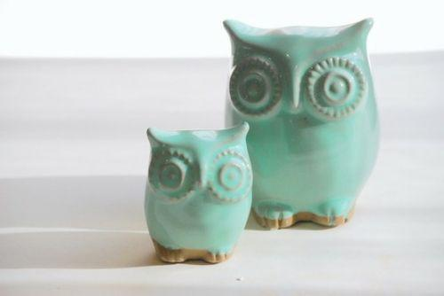 Mint Green Owl Home Decor Claylicious Etsy