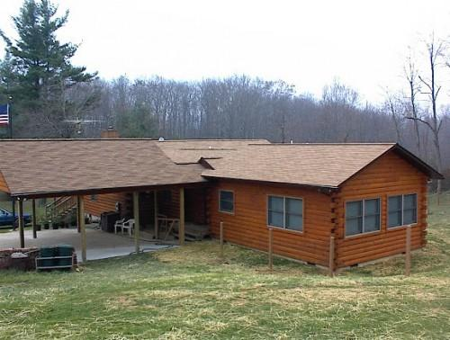 New Construction Before Log Home Staining Work Started