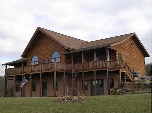Newer Kuhns Bros Log Home Adjacent Horse Farm
