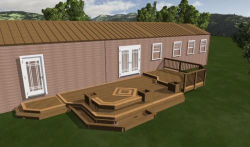 Nice Mobile Home Deck Design Plan Showing Taupe