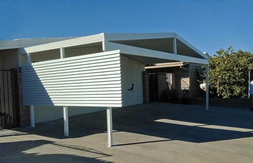Offset Posts Mobile Home Awning Using