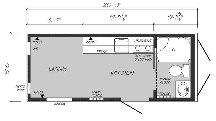 One Bedroom Bath Shipping Container Home Floor Plan