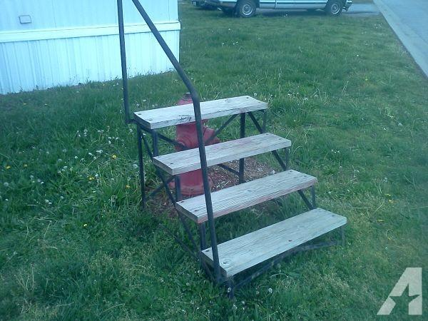 One Year Old Mobile Home Steps Wood Steel Railing