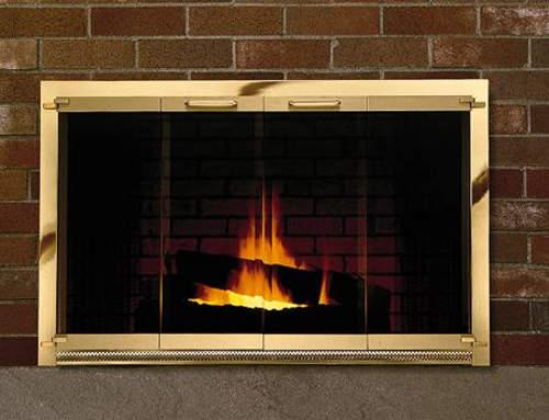 Premier Rectangle Custom Made Glass Door Masonry Fireplaces