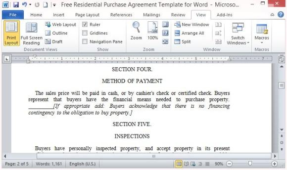 Residential Purchase Agreement Template Word Contains