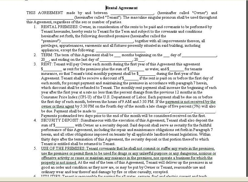 Roommate Agreement Forms Louisiana Lease Printable