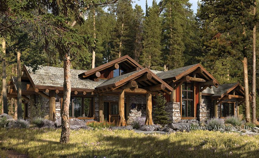 Rustic Luxury Truckee Log Cabin Home Plan