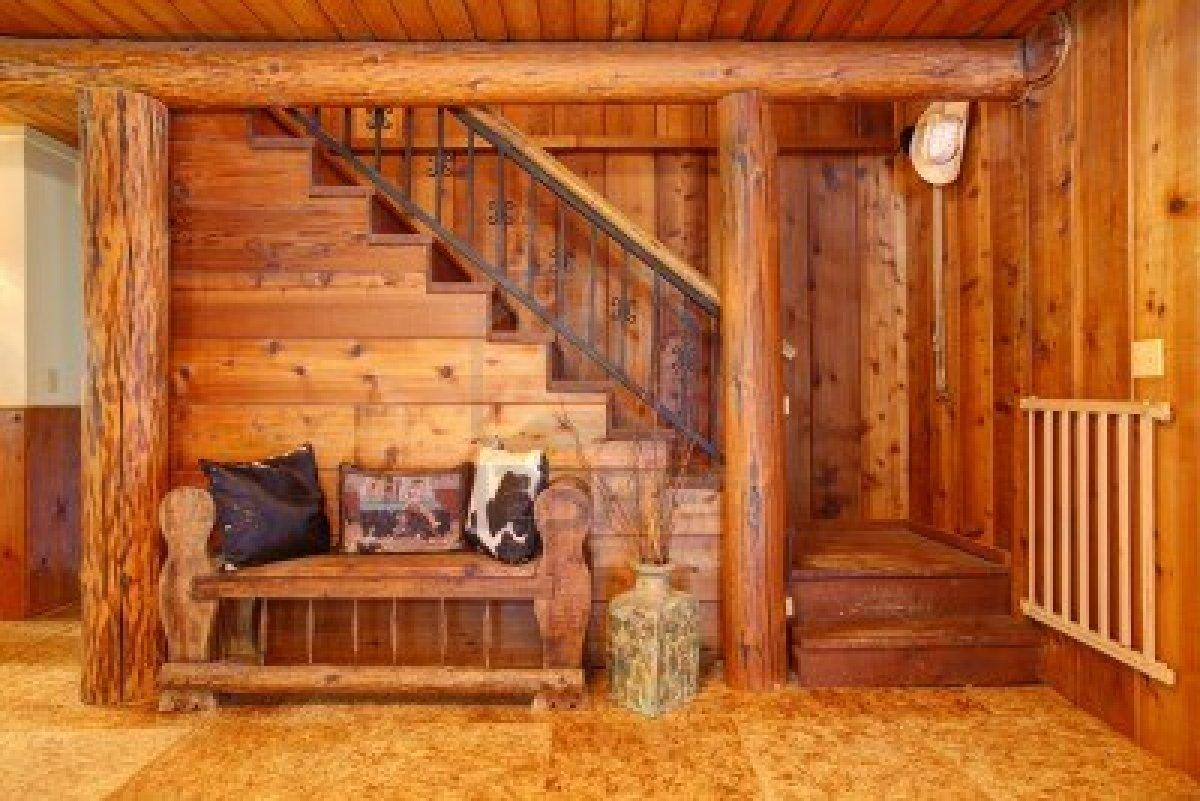 Rustic Old Log Cabin Details Staircase Wood Bench Design