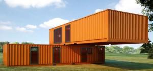 Simple Shipping Container House Design Made Two Orange Big