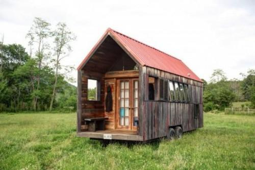 Small Mobile Home Created Salvaged Wood