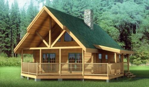Solid Oak Log Home Kit Schutt Homes