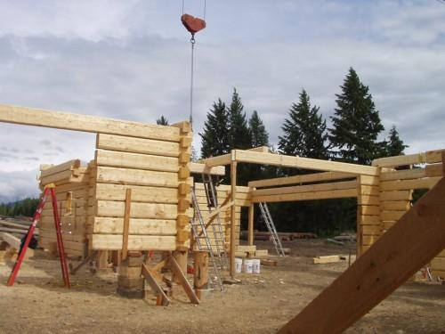 Square Log Wall Getting Higher Handcrafted Dovetail Home