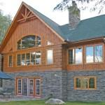 Stone Exterior House Constructed Confederate Log Homes
