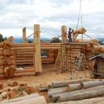 Trial Fitting Posts Cedar Log Home