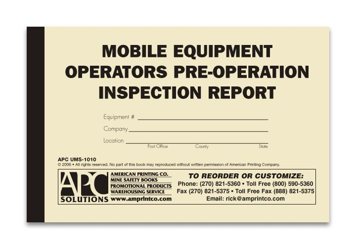 Ums Mobile Equipment Operator Pre Operation Inspection Report